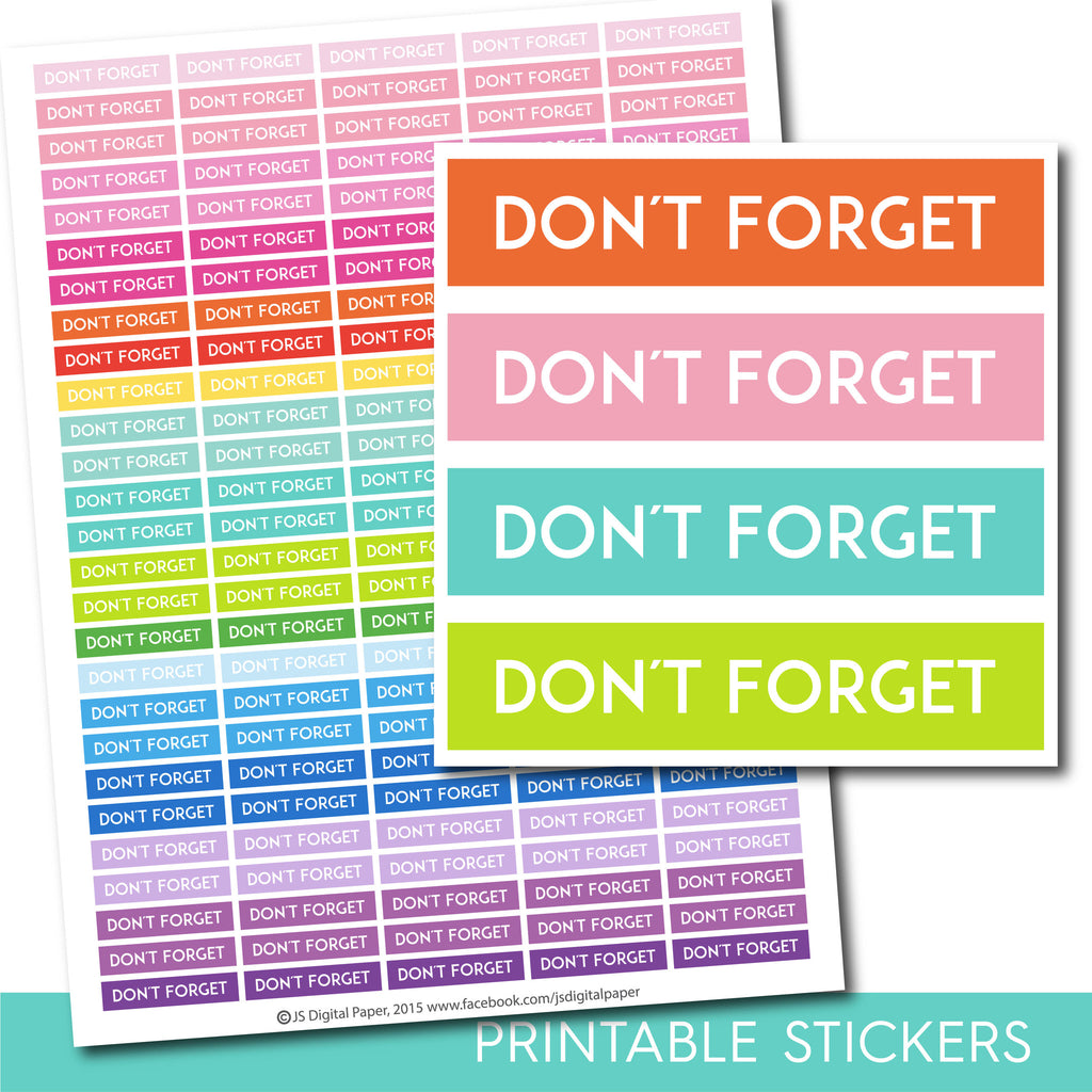 Dont forget stickers, Dont forget planner stickers, Dont forget printable stickers, Personal stickers, Work sticker, Office stickers STI-240