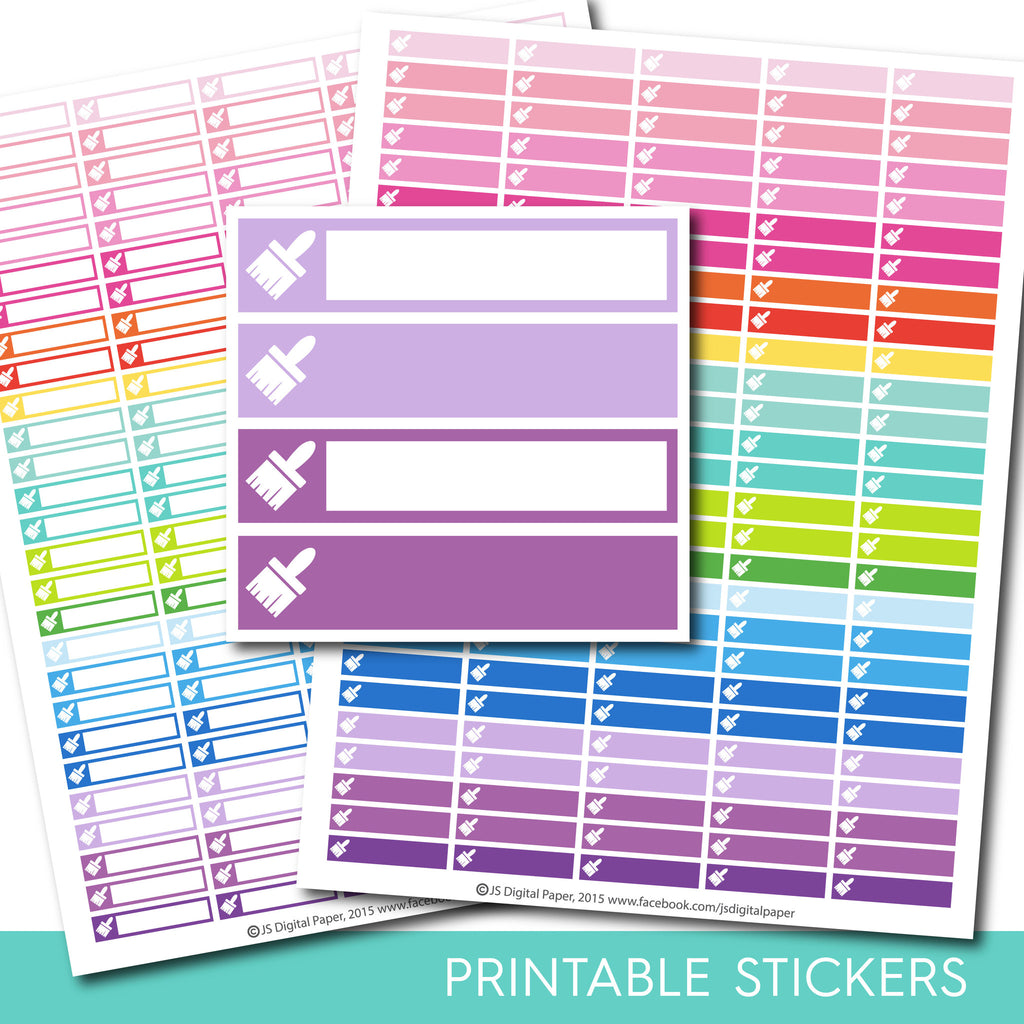 Paint stickers, Paint brush planner stickers, Paint brush printable stickers, Paint brush stickers, Brush stickers, School sticker, STI-251