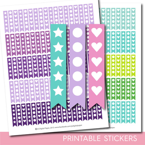 Heart stickers, Round stickers, Star stickers, Heart checklist stickers, Round checklist stickers, Star checklist stickers, STI-296
