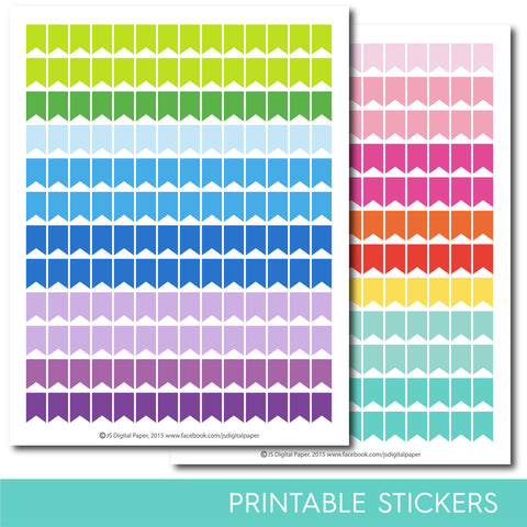 Flag stickers, Page flag stickers, Blank flag stickers, Flag printable stickers, Banner stickers, Banner printable stickers, STI-298