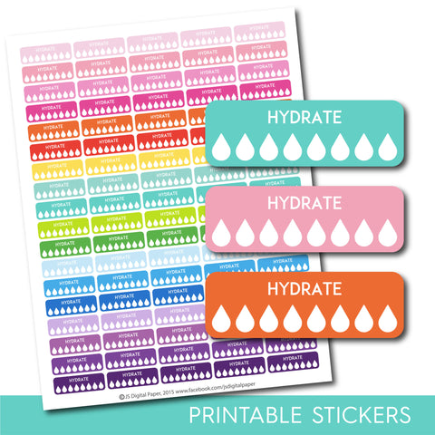 Hydrate stickers, Hydrate tracker stickers, Hydrate planner stickers, Hydrate printable stickers, Fitness stickers, Water stickers, STI-300