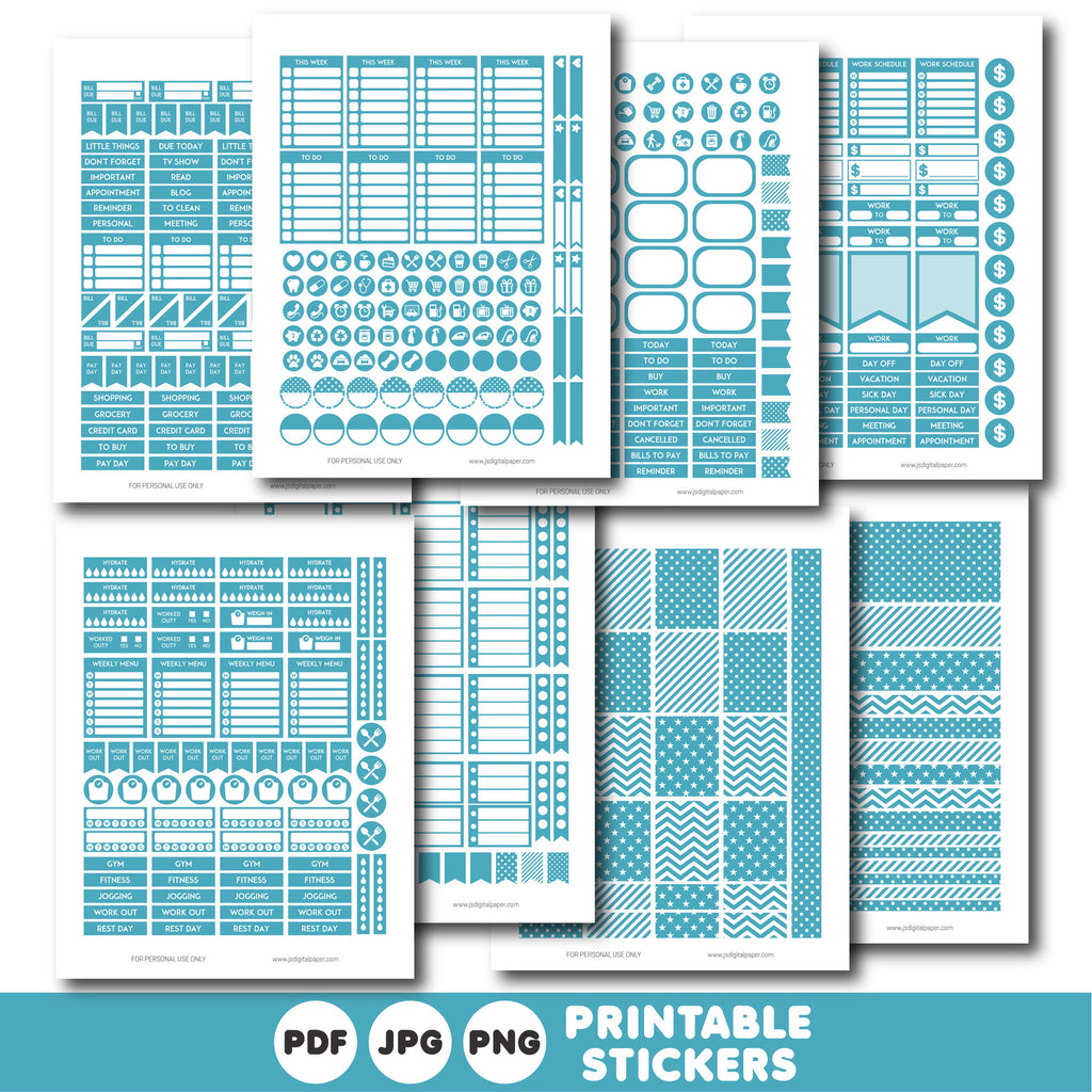 Aqua blue printable monthly and weekly planner stickers kit, STI-307