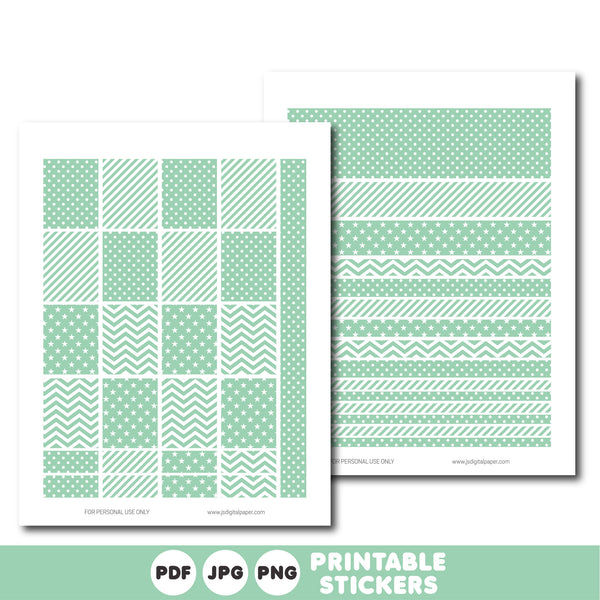 Light mint printable monthly and weekly planner stickers kit, STI-310