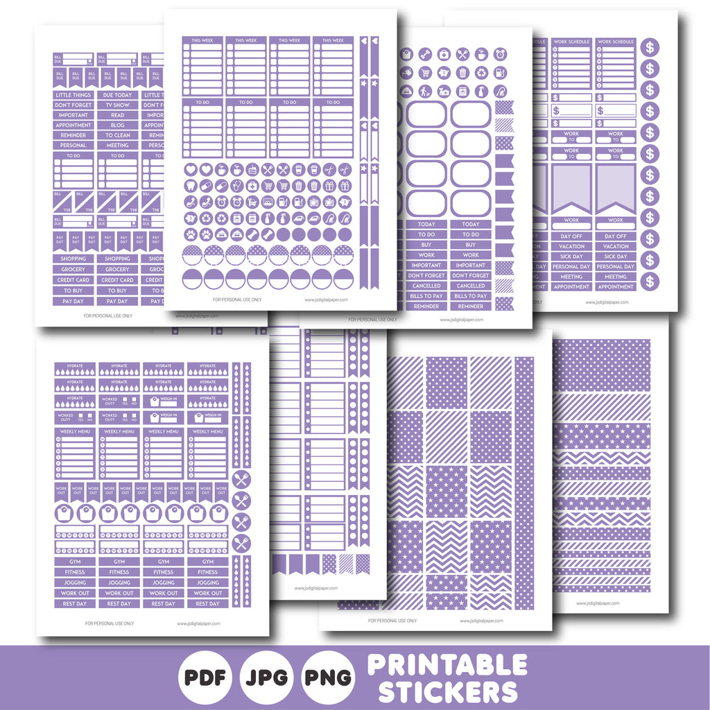 Purple printable monthly and weekly planner stickers kit, STI-311