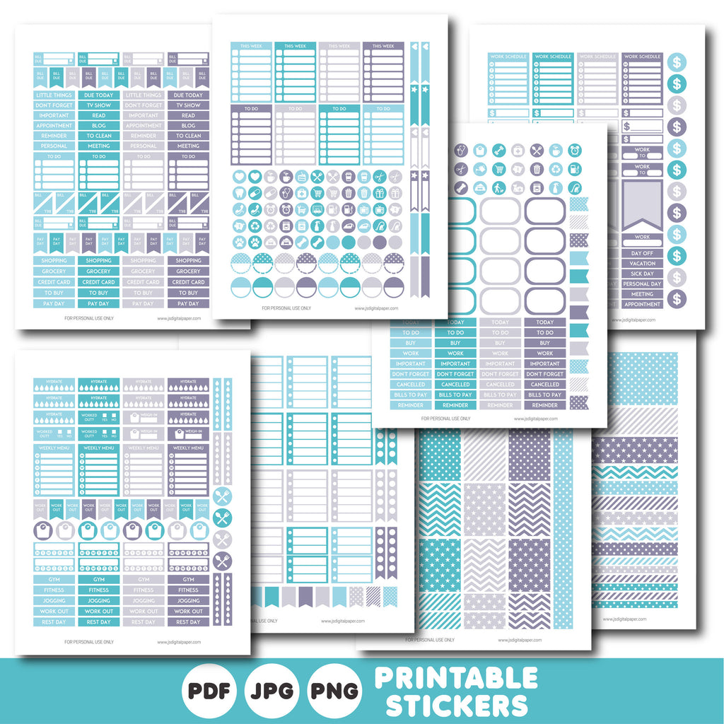 Blue aqua and grey printable monthly and weekly planner stickers kit, STI-319