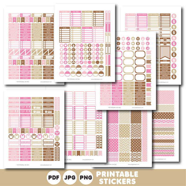 Brown and pink printable monthly and weekly planner stickers kit, STI-324