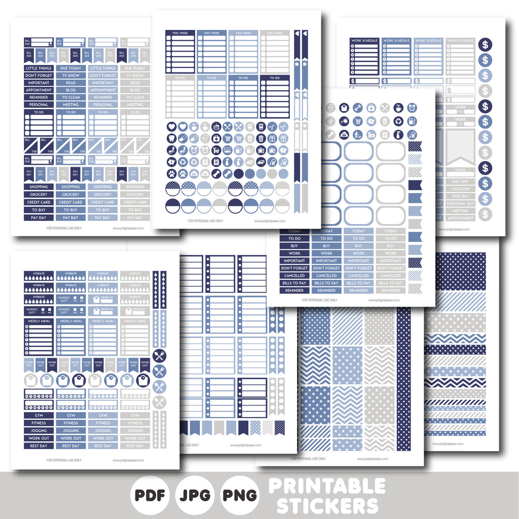 Blue and grey printable monthly and weekly planner stickers kit, STI-332