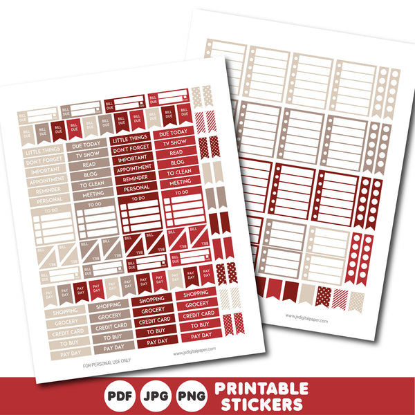 Red and brown printable monthly and weekly planner stickers kit, STI-334