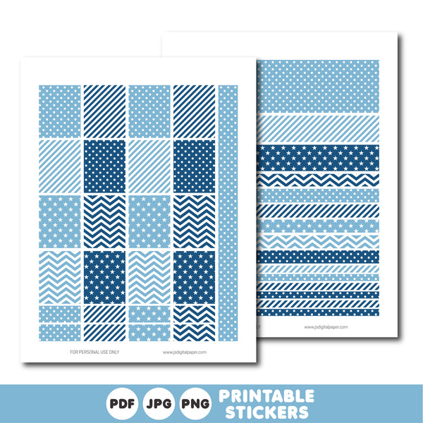 Blue printable monthly and weekly planner stickers kit, STI-344