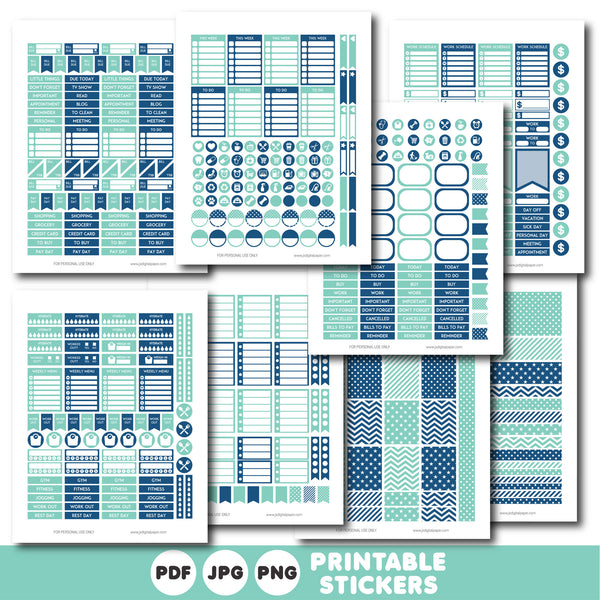 Turquoise and navy blue printable monthly and weekly planner stickers kit, STI-346