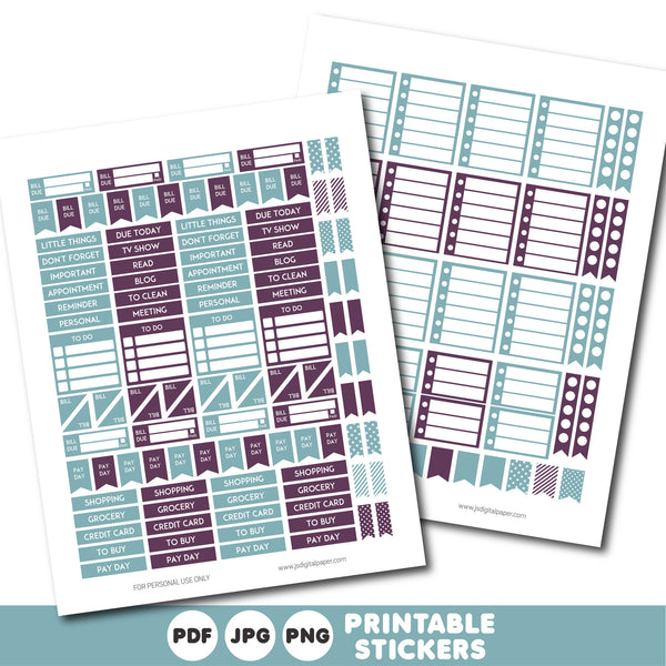 Vintage blue and plum printable monthly and weekly planner stickers kit, STI-349