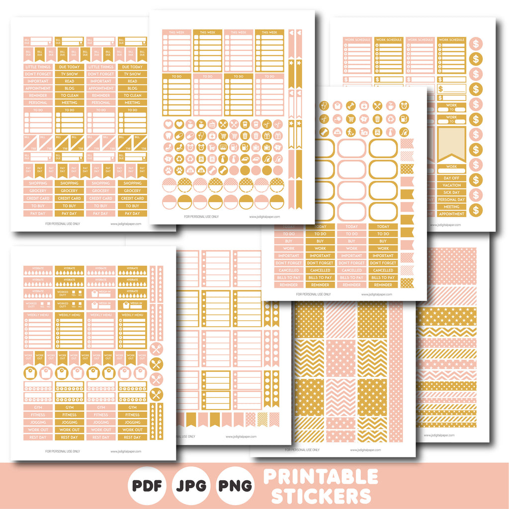 Pink and gold printable monthly and weekly planner stickers kit, STI-351