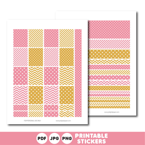 Candy pink and gold printable monthly and weekly planner stickers kit, STI-352