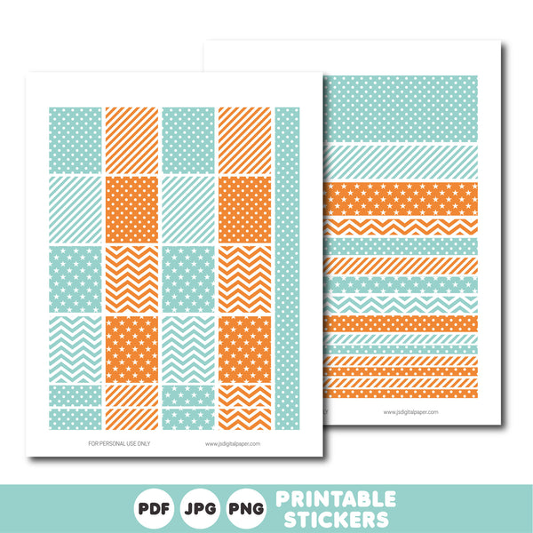 Turquoise and orange printable monthly and weekly planner stickers kit, STI-370