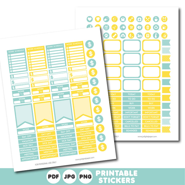 Turquoise and sunshine yellow printable monthly and weekly planner stickers kit, STI-371