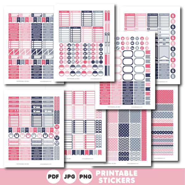 Blue and pink printable monthly and weekly planner stickers kit, STI-381
