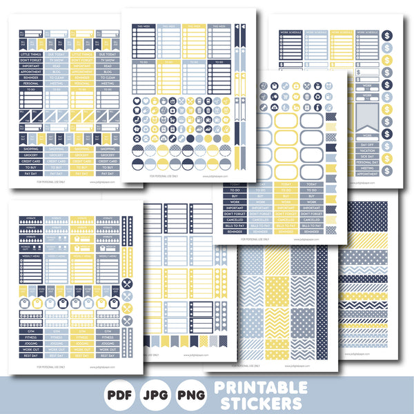 Blue and yellow printable monthly and weekly planner stickers kit, STI-383
