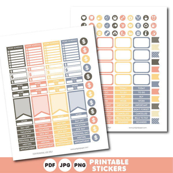 Yellow coral and blue printable monthly and weekly planner stickers kit, STI-385
