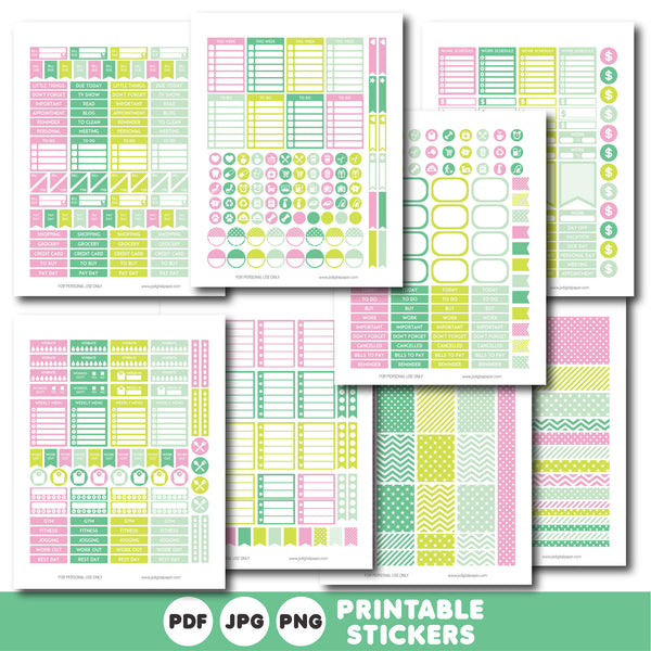 Green mint and pink printable monthly and weekly planner stickers kit, STI-395