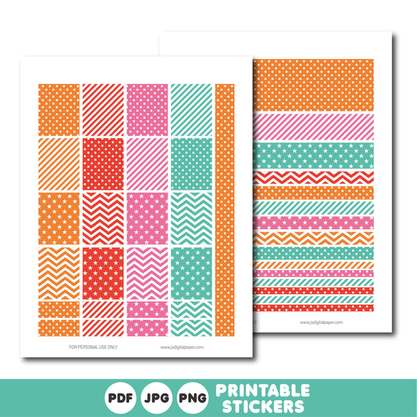 Orange, red and pink printable weekly planner stickers with daily stickers, work stickers, fitness stickers and much more, STI-400