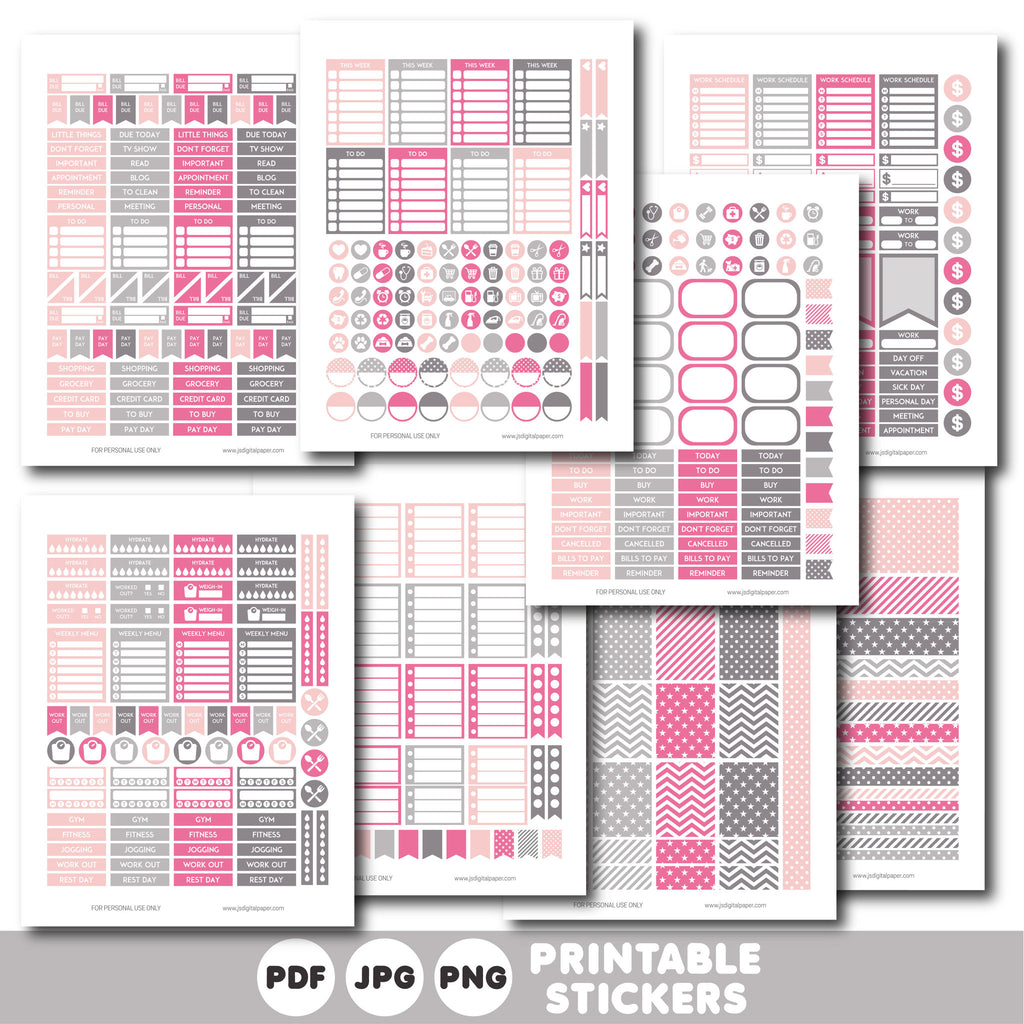Grey and pink printable weekly planner stickers with daily stickers, work stickers, fitness stickers and much more, STI-417