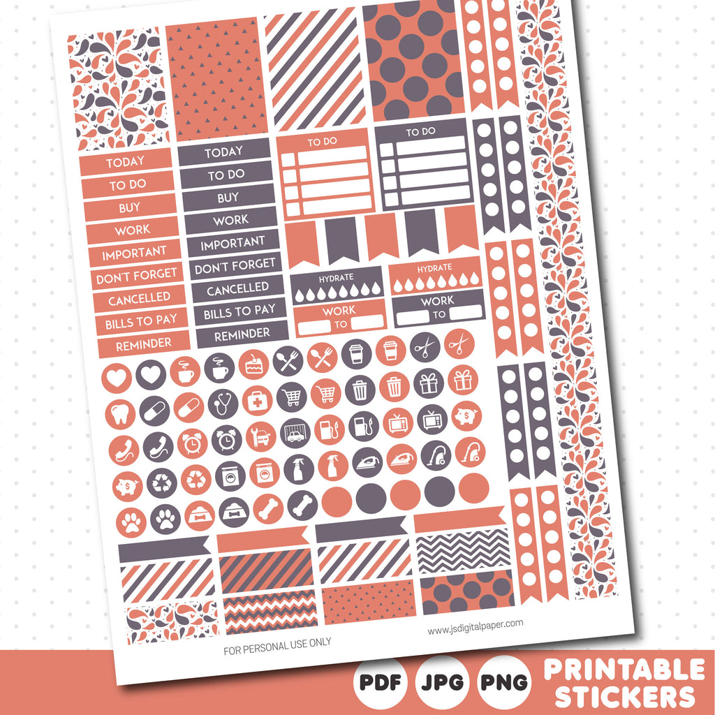 Rustic peach weekly planner stickers with headers, full boxes, half boxes, circles, flags and washi tape, STI-478