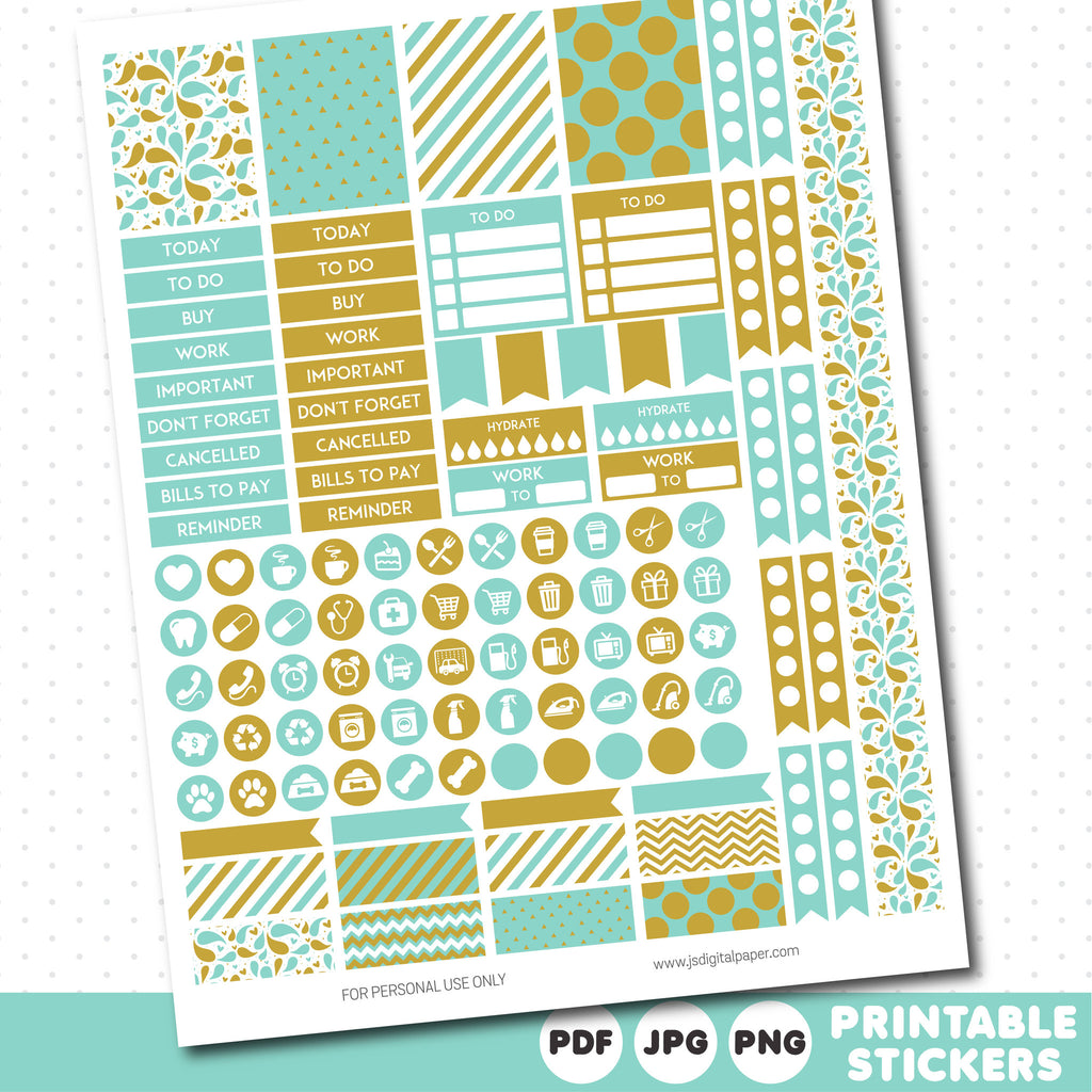 Light turquoise weekly planner stickers with headers, full boxes, half boxes, circles, flags and washi tape, STI-489