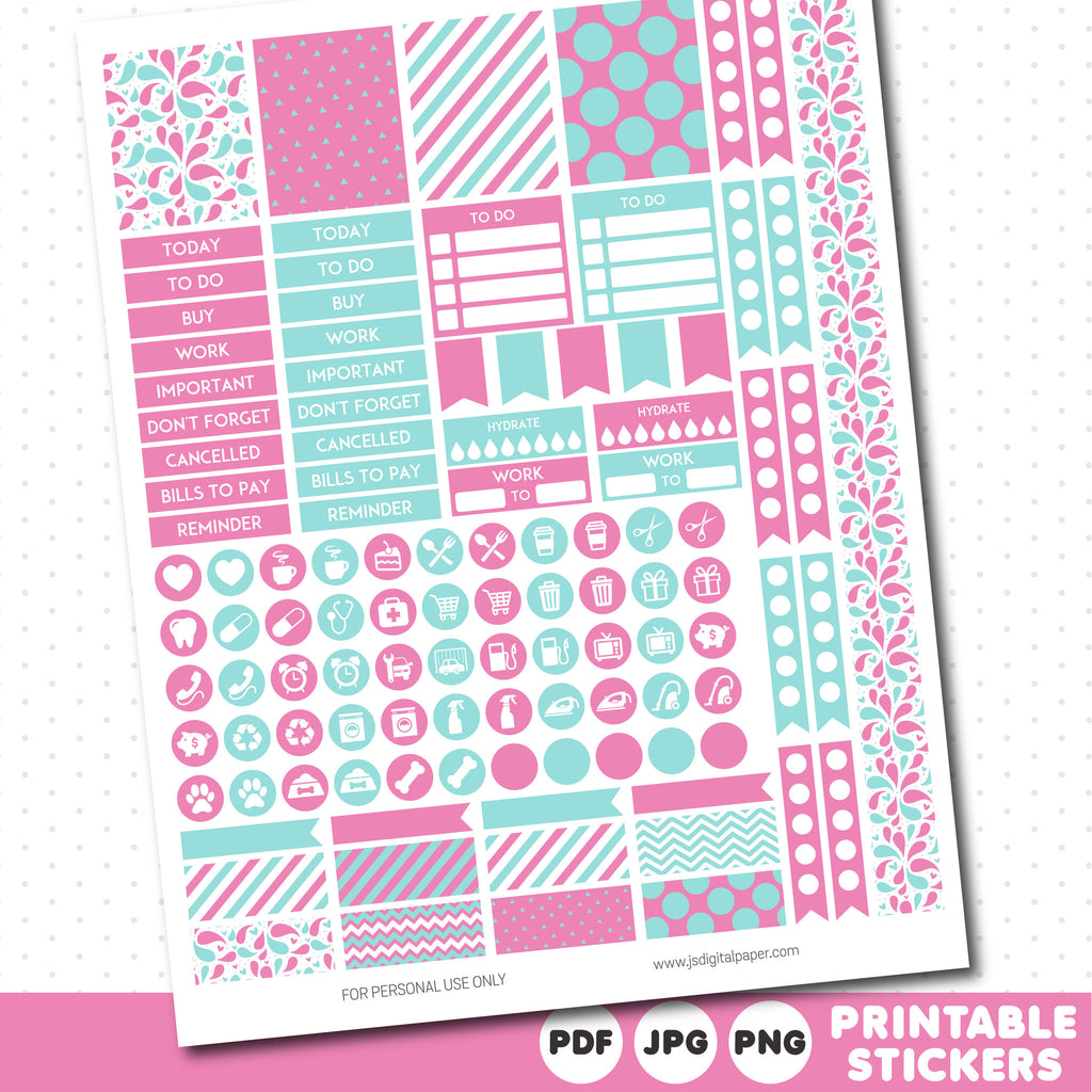 Lollipop pink and light turquoise weekly planner stickers with headers, full boxes, half boxes, circles, flags and washi tape, STI-538
