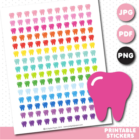 Tooth printable planner stickers, STI-619