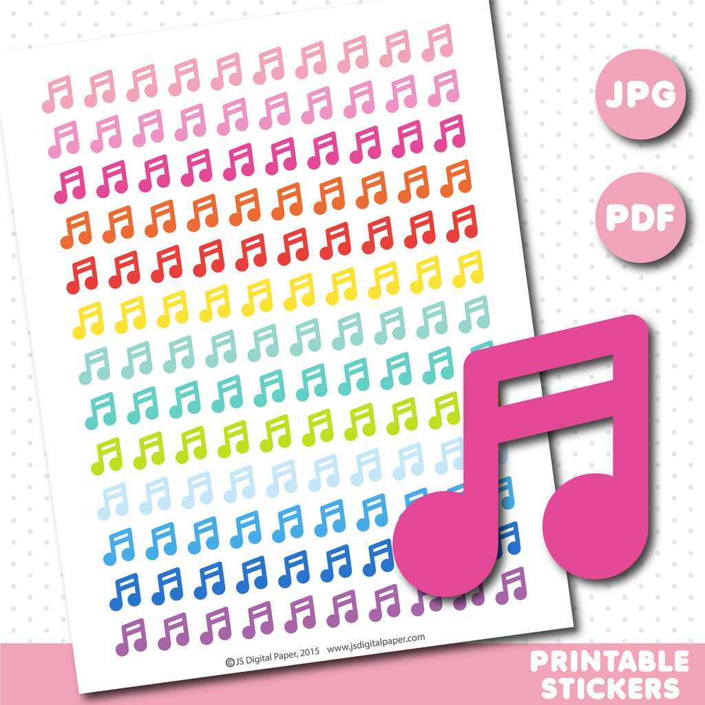Music printable planner stickers, STI-621