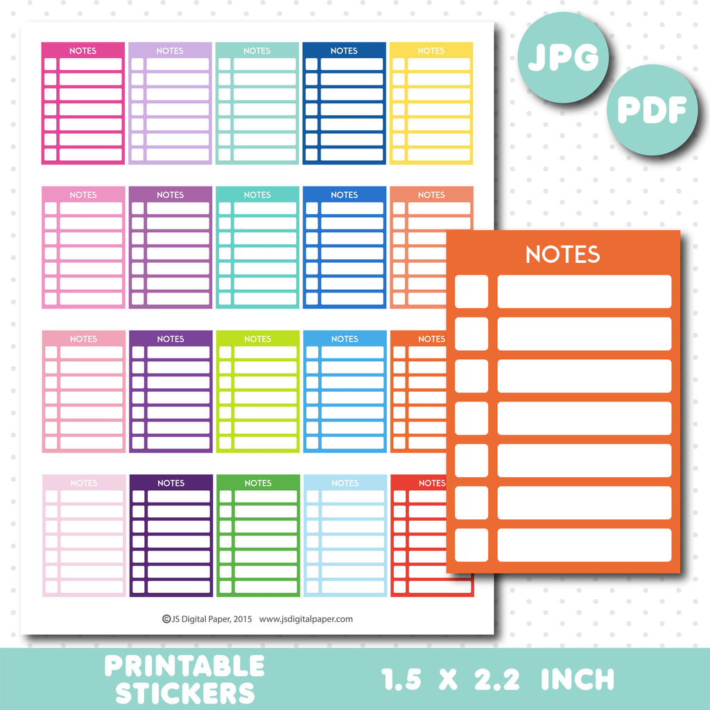 Notes checkbox stickers, Notes checklist stickers, Notes printable full box stickers, STI-656