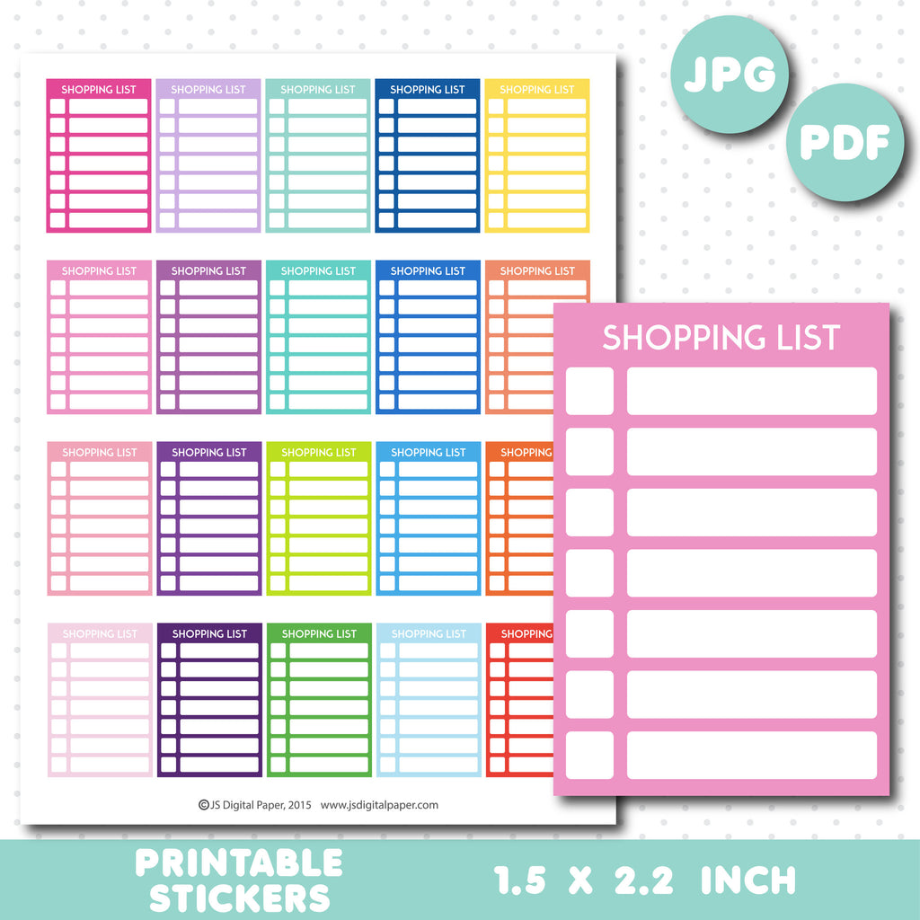 Shopping checkbox stickers, Shopping checklist stickers, Shopping printable full box stickers, STI-665
