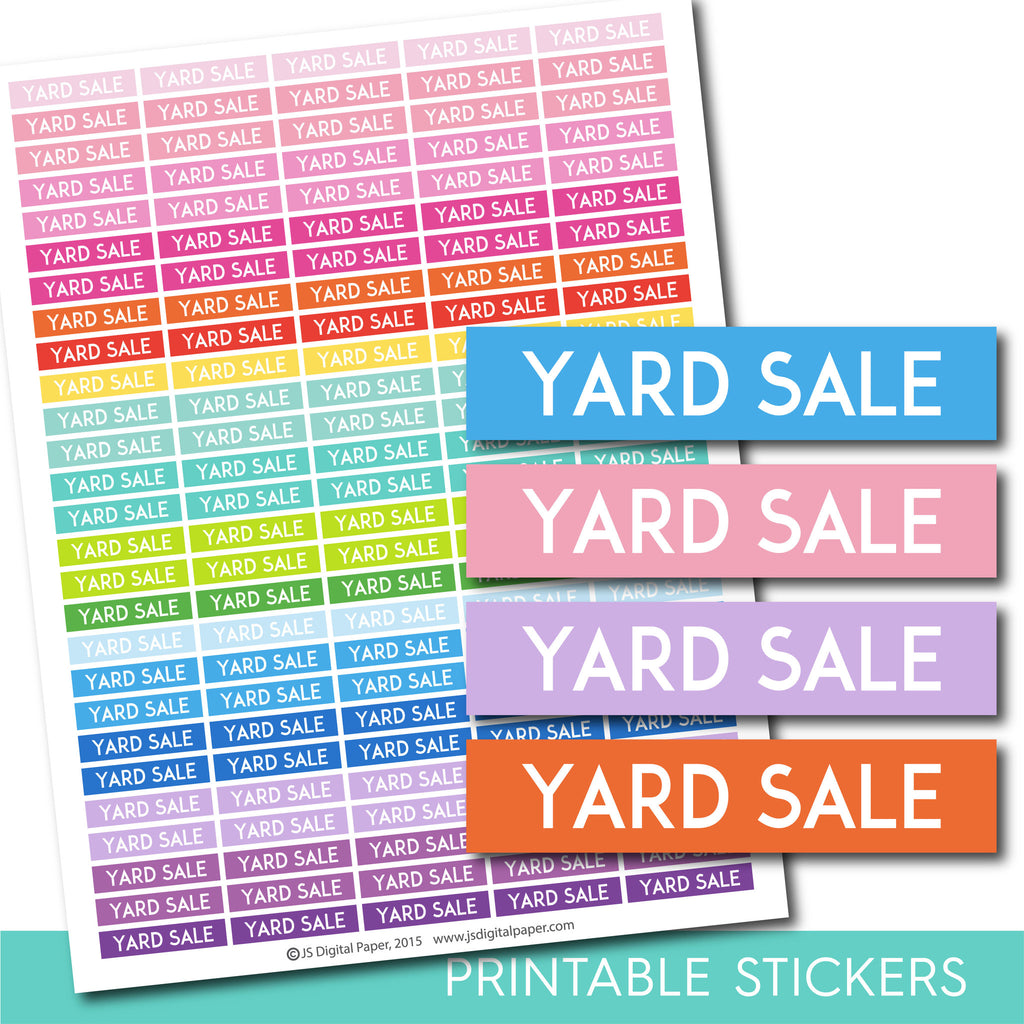 Yard sale stickers, Yard sale planner stickers, Yard sale weekly and monthly planner stickers, STI-676
