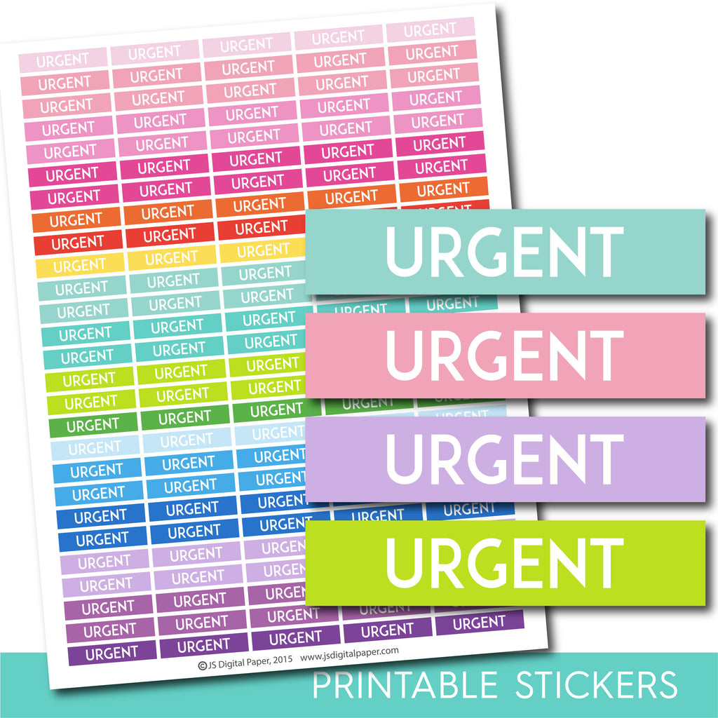 Urgent stickers, Urgent planner stickers, Urgent weekly and monthly planner stickers, STI-680