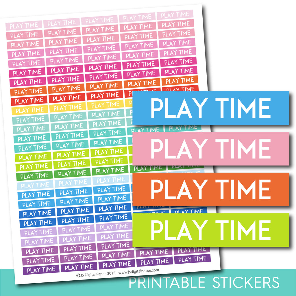 Play time stickers, Play time planner stickers, Play time weekly and monthly planner stickers, STI-687