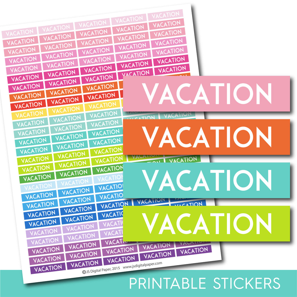 Vacation stickers, Vacation planner stickers, Vacation weekly and monthly planner stickers, STI-694