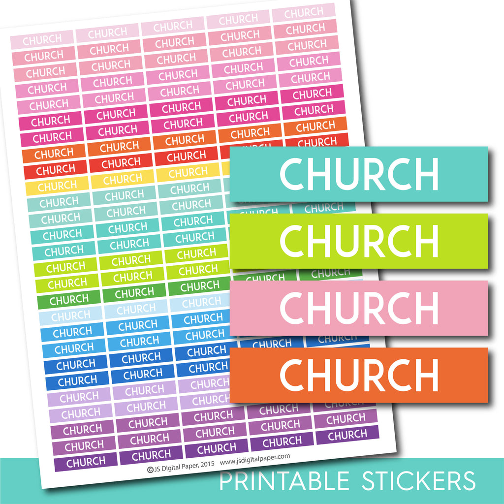 Church stickers, Church planner stickers, Church weekly and monthly planner stickers, STI-699