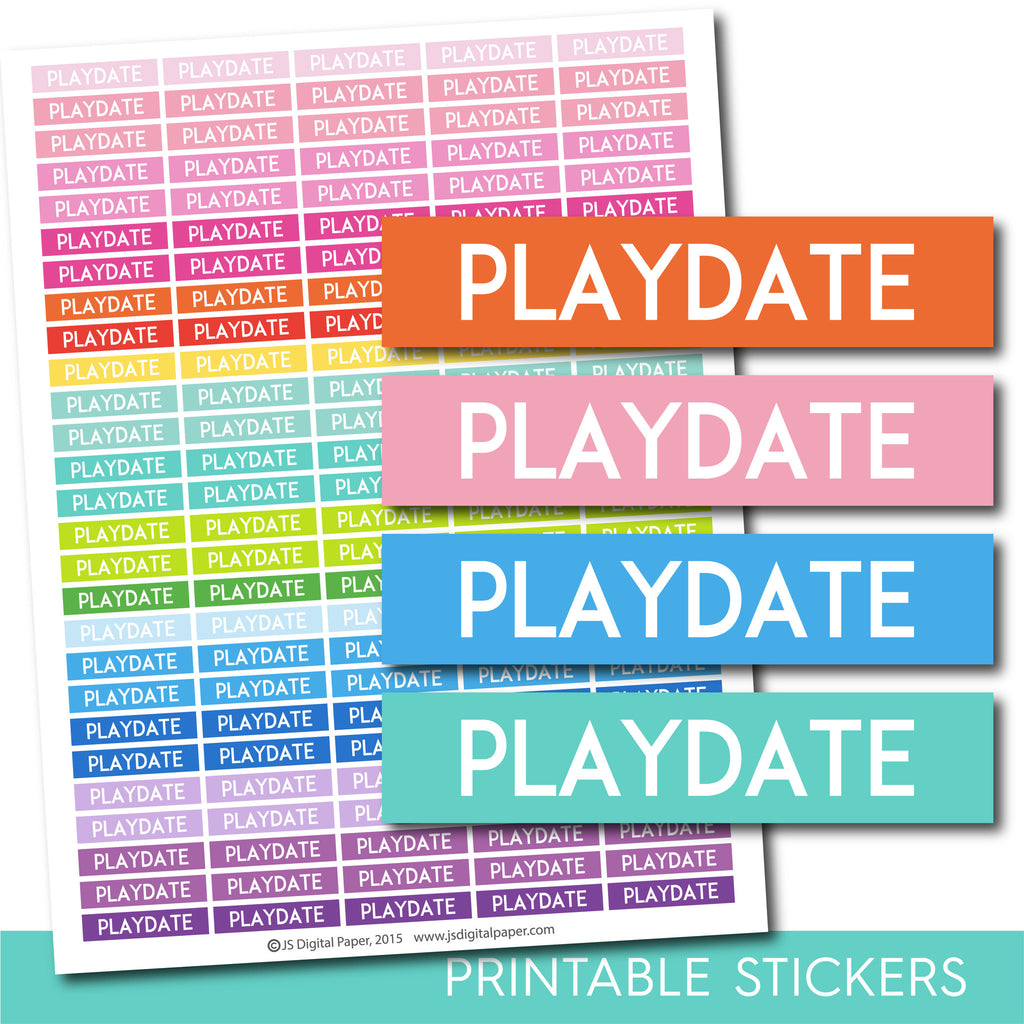 Playdate stickers, Playdate planner stickers, Playdate weekly and monthly planner stickers, STI-703