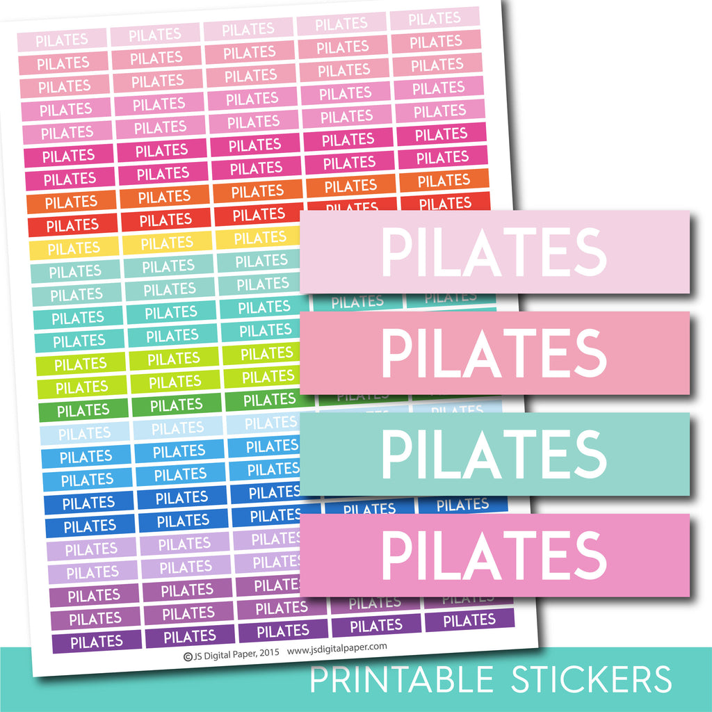 Pilates stickers, Pilates planner stickers, Pilates weekly and monthly planner stickers, STI-714