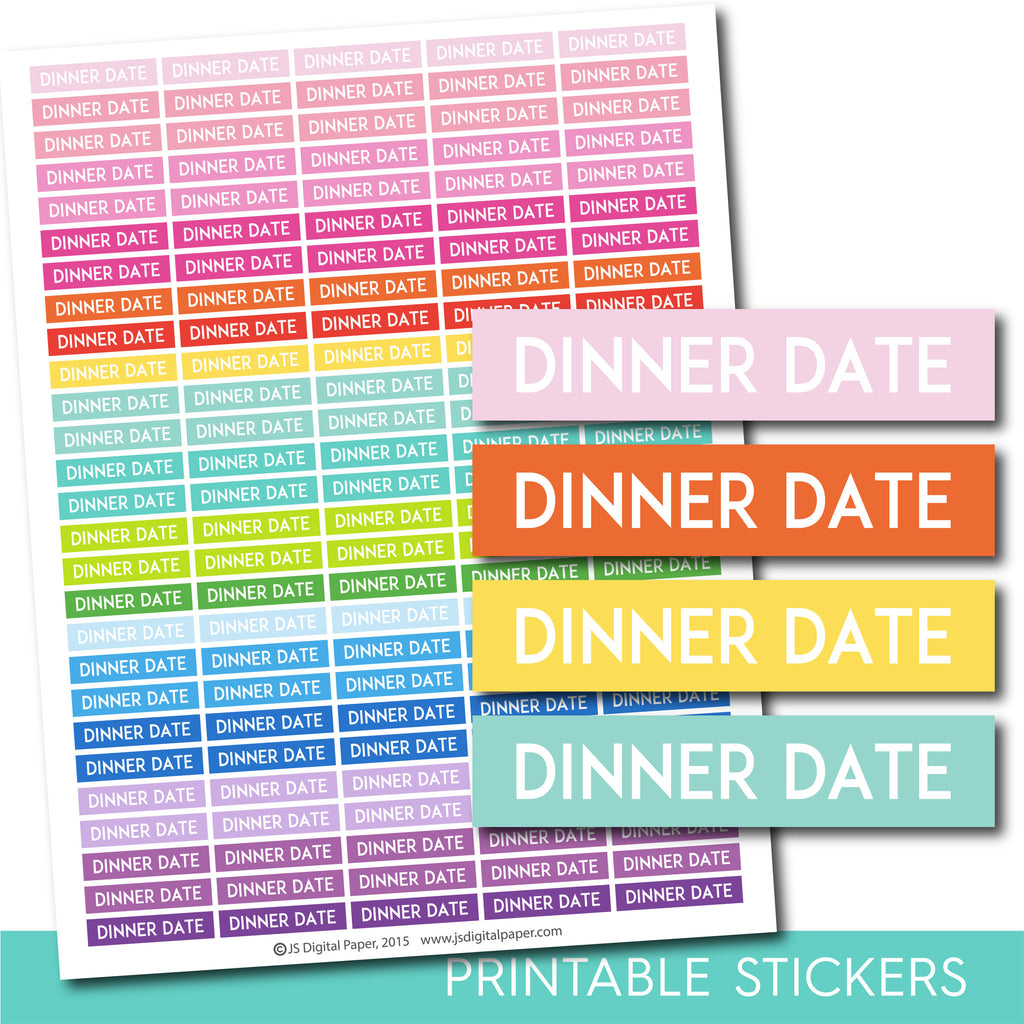 Dinner date stickers, Dinner date planner stickers, Dinner date weekly and monthly planner stickers, STI-730