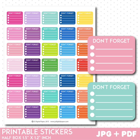 Don´t forget check box stickers, Printable half box stickers, STI-740