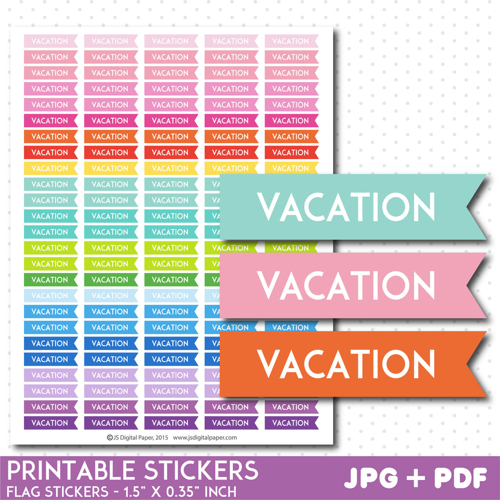 Vacation flag planner stickers, Vacation stickers, Vacation flag stickers, Printable stickers, STI-751