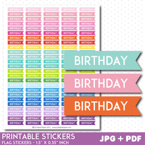 Birthday flag planner stickers, Printable stickers, STI-752