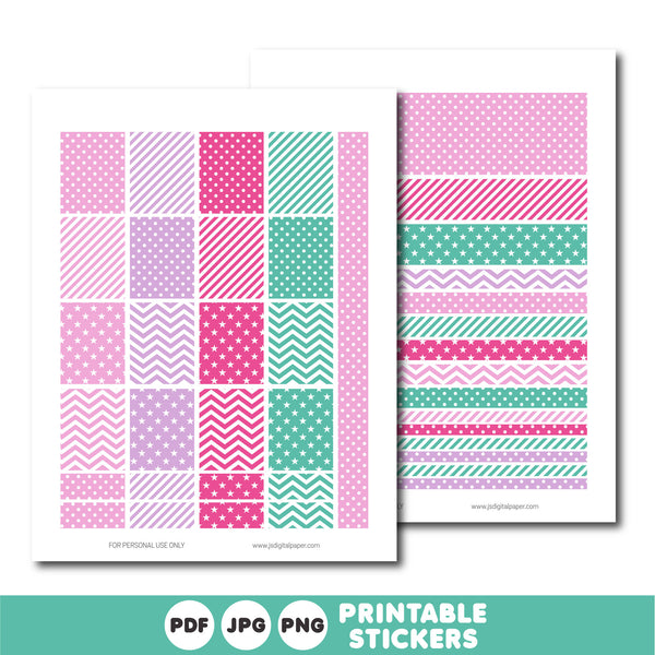 Purple and pink printable monthly and weekly planner stickers kit, STI-757