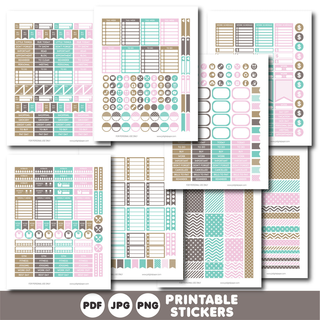 Pink and brown printable monthly and weekly planner stickers kit, STI-758