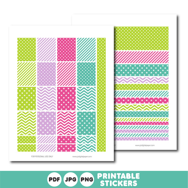 Green, purple and pink printable planner stickers kit, STI-761