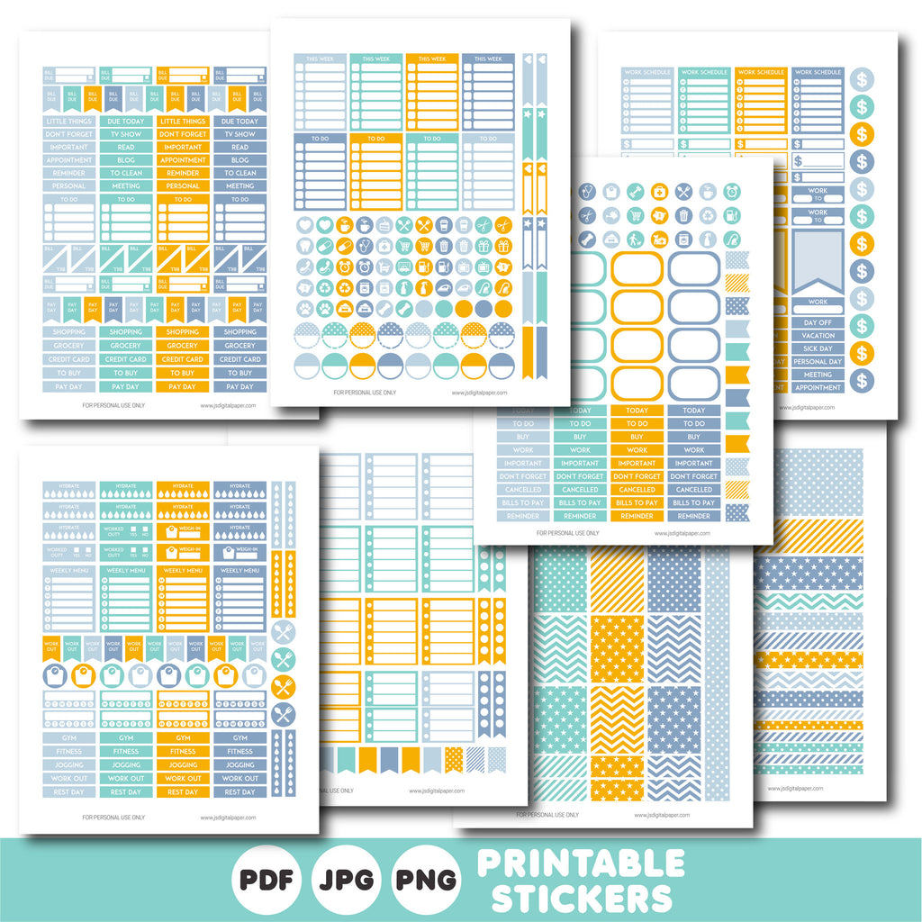 Fog blue, turquoise and orange printable monthly and weekly planner stickers kit, STI-763