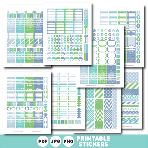 Green, fog blue and turquoise printable monthly and weekly planner stickers kit, STI-764