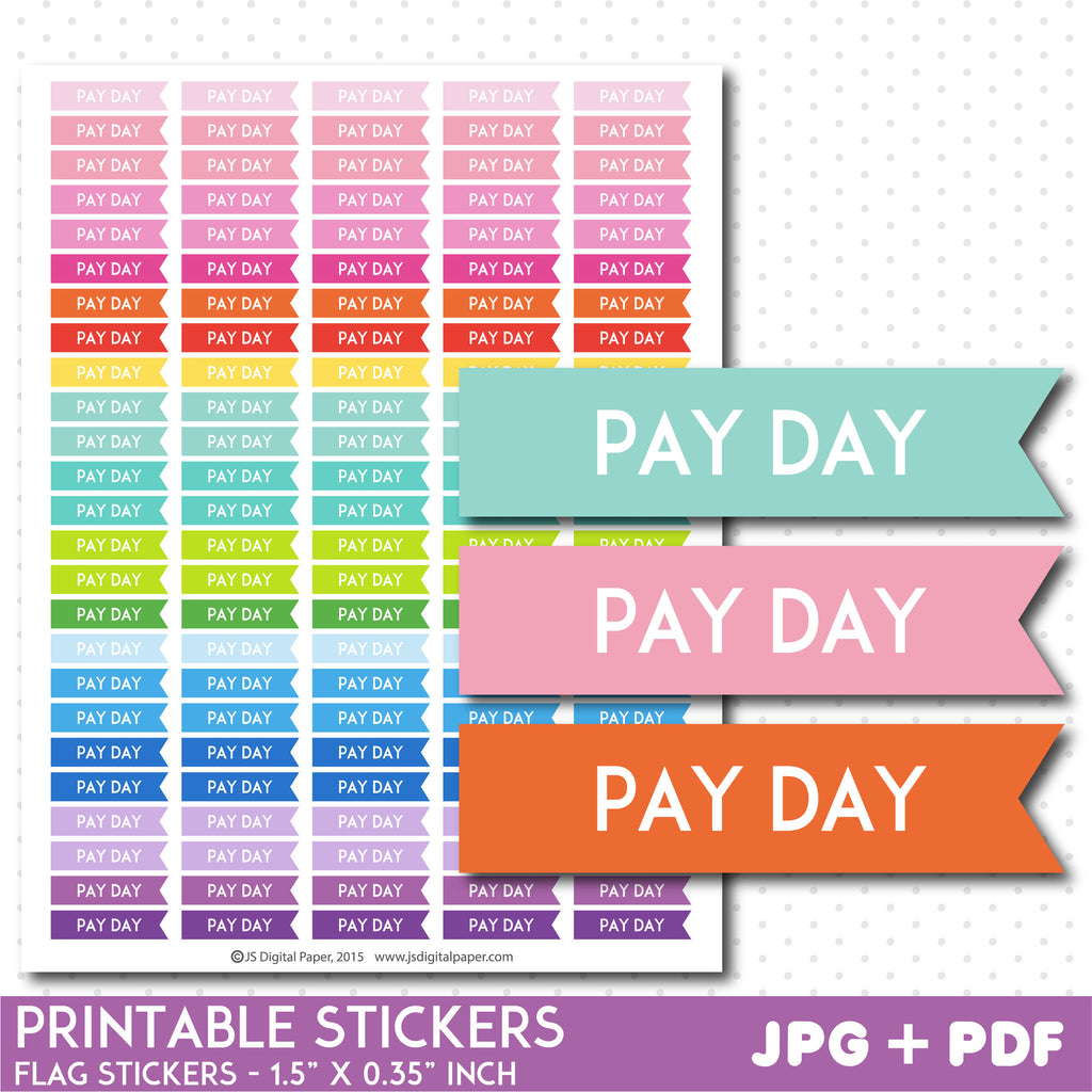 Pay day flag planner stickers, Pay day stickers, Pay day flag stickers, Printable stickers, STI-768