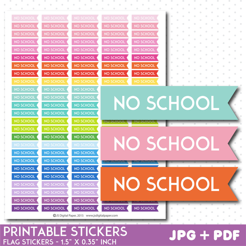 No school flag planner stickers, No school stickers, No school flag stickers, Printable stickers, STI-769